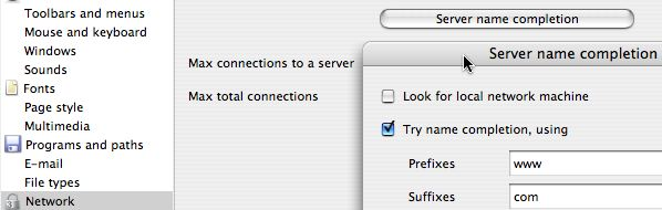 Server name completion dialogue box, with 'Look for local network machine' unchecked