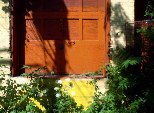 A loading-dock door, with thinning orange paint, sits nestled in a concrete-and-brick wall behind leafy plants and flowers