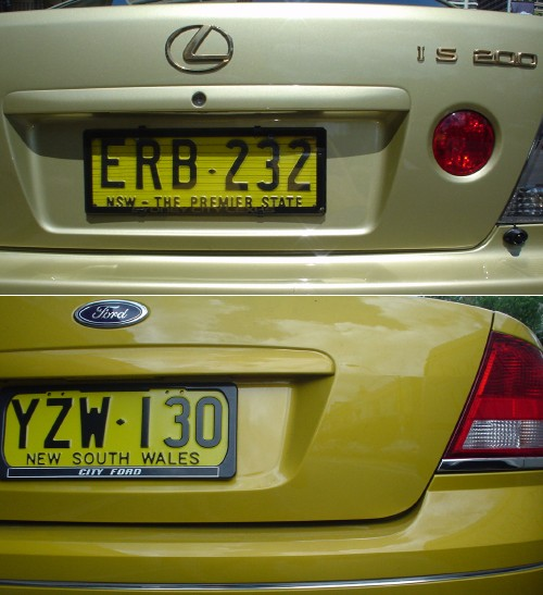 Close-ups of rear ends of off-green Lexus and yellow-green Ford, both with yellow-green license plates