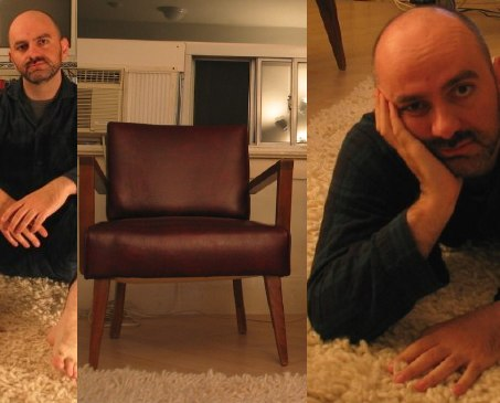 Me sitting on rug, me in one of two Modernist chairs, me lying prostrate on rug