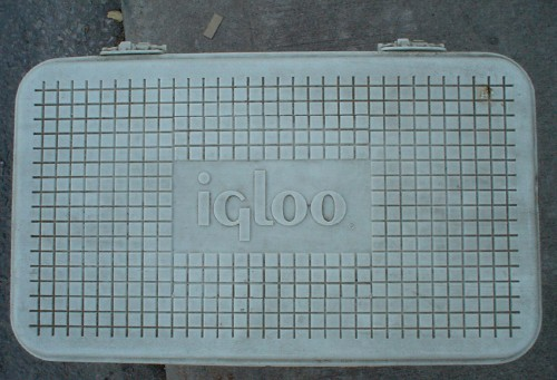 Lid of cooler is emblazoned 'igloo' in Peignot type