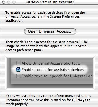 QuicKeys setup screen instructs you to activate Universal Access