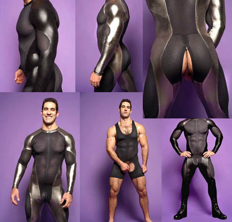 Elaborately muscular black-haired model in rubbery, segmented bodysuits and unitard