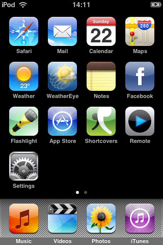 Home screen with last row showing only one item, at far left