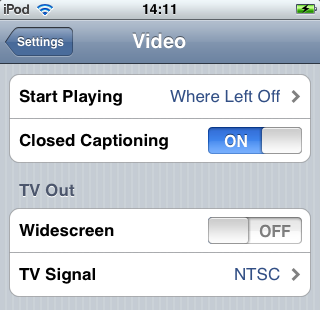 Toggle switch for Closed Captioning has ON in blue on left side