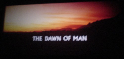 Frame from film shows sunrise on a savannah and the title THE DAWN OF MAN