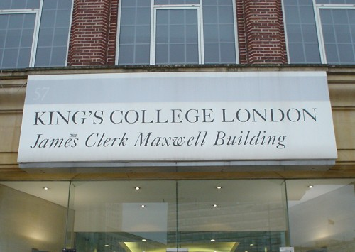 Sign reads KING'S COLLEGE LONDON James Clerk Maxwell Building in Caslon capitals and mixed-case italic