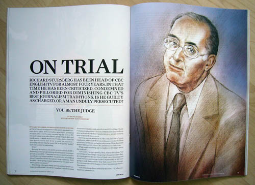 Two-page spread headlined 'On Trial,' with full-page illustration of Stursberg