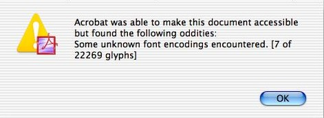 'Acrobat was able to make this document accessible but... [s]ome unknown font encodings encoutered [7 of 22269 glyphs]'