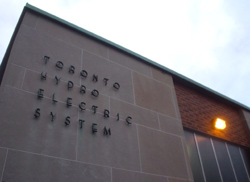 Slate front of building has metal TORONTO HYDRO ELECTRIC SYSTEM letters standing out from the stone on stalks