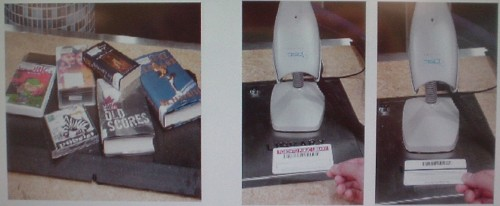 Photos show books on a black surface and two library cards and scanners