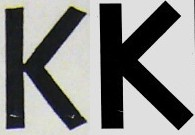 Two slightly different Ks. One has terminals ending at an angle to the stroke, the other ending at right angles