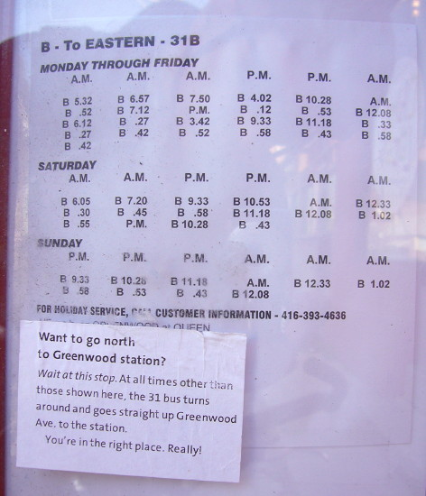 31B bus schedule (six columns of text in three sections) with label attached at the bottom: Want to go north to Greenwood station?