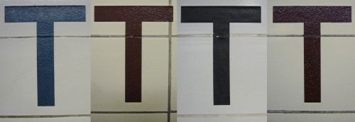 Four Ts from subway-station walls