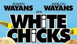 'White Chicks' title in black Flyer, with the letter i lower case in white outline inside a black capital I