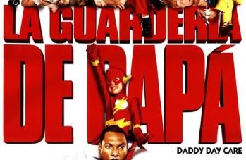 «La guardería de papa» title in red Compacta