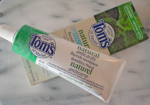 Box and tube of Tom's of Maine Natural Anticavity Fluoride Toothpaste