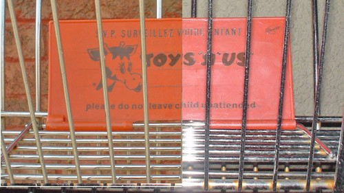 Daytime and nighttime photos stitched together complete an image of a Toys R Us shopping cart with orange flip-up warning card in upper basket ('please do not leave child unattended')