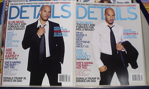 Two identical issues of 'Details' with different colours (one with red accent type, the other with pale blue)