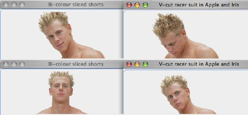 Edited screenshots show four browser windows with ice-blond shirtless model from shoulders up