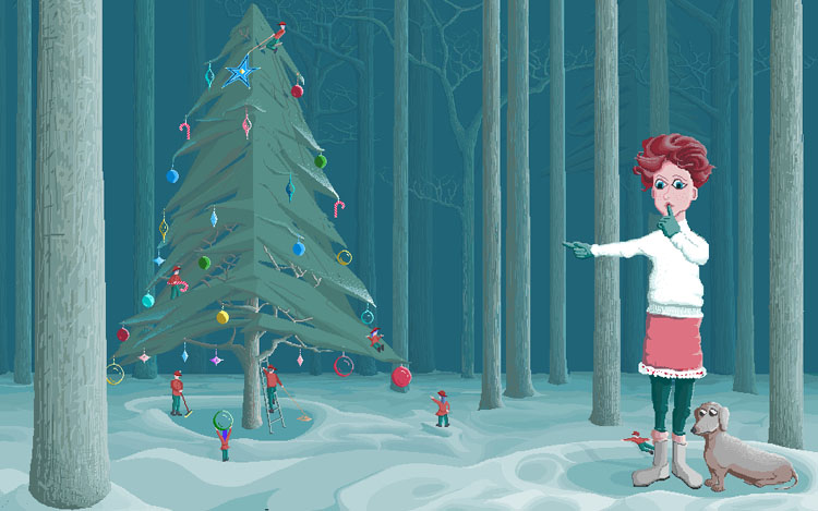In a wooded clearing, a woman stands with a dachshund at her feet. She holds a finger to her lips and points to a nearby Christmas tree, on which tiny men in green pants and red sweaters and toques hang decorations