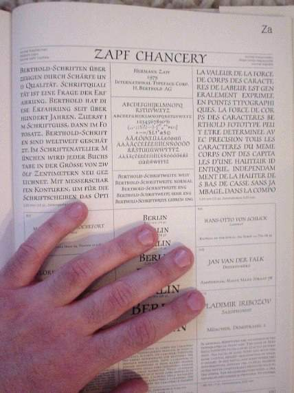 Zapf Chancery specimen-book closeup (with additional visible hand)