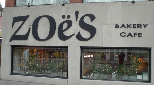 Huge letters on café's concrete storefront read 'ZOë's'