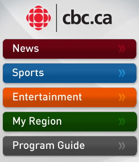 iPhone screenshot: News, Sports, Entertainment, My Region, Program Guide