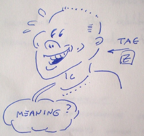 Line drawing shows smiling young man with sweat flying off his face. The word 'Tag' sits atop an arrow pointing to the man, who utters the word 'Meaning?' The illustration is signed with a Z in a box
