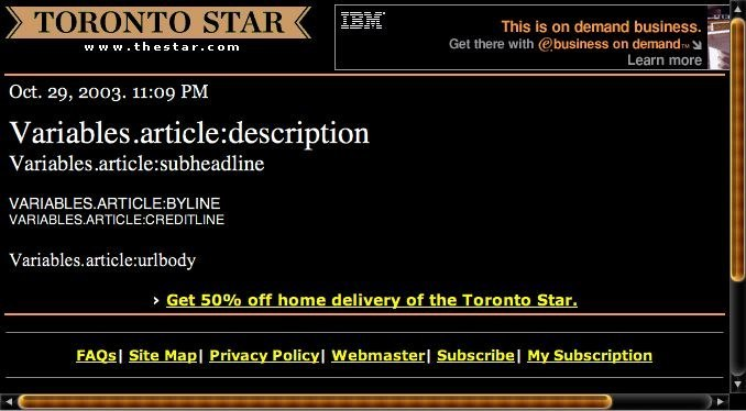 thestar.com screenshot, showing nonsensical text like Variables.article:description
