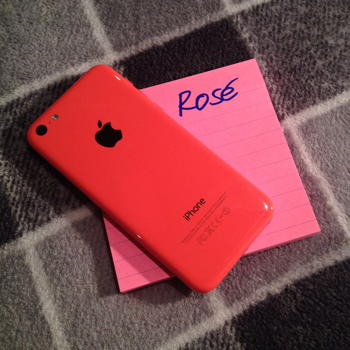 5C, which is not pink, on a pile of Post-It notes (emblazoned Rosé), which are