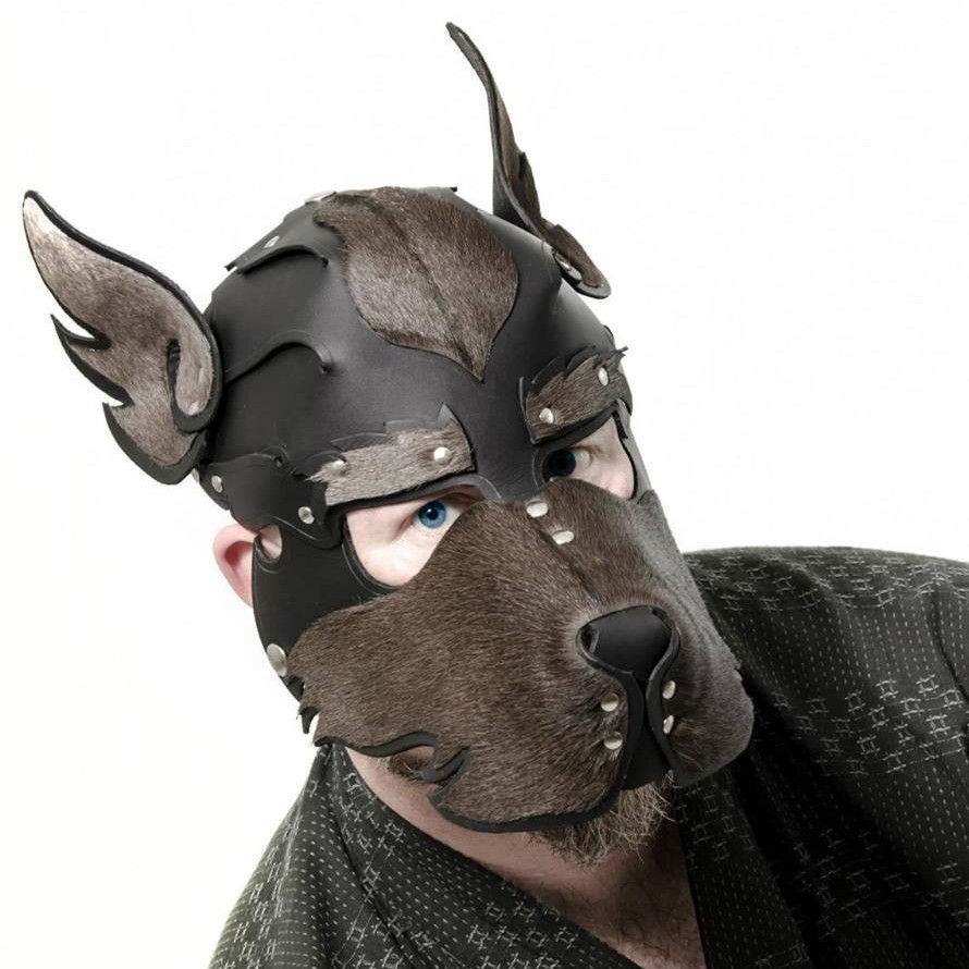 Dark blue eyes are visible under a dog mask whose sides, centre top, and tall-standing ears seem to be covered in dark brown fur