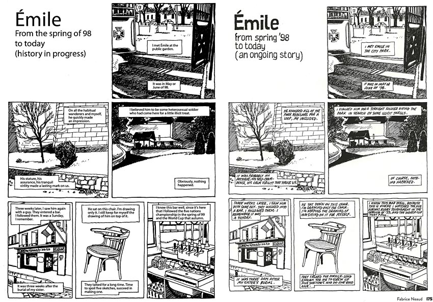 First pages of original translated and 'No Straight Lines' versions