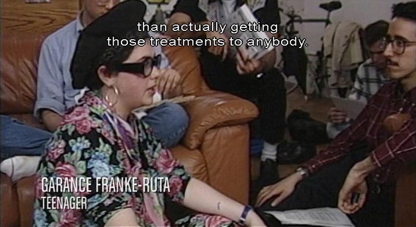 GARANCE FRANKE-RUTA, TEENAGER in paisley blouse, beret, hoop earrings: than actually getting those treatments to anybody