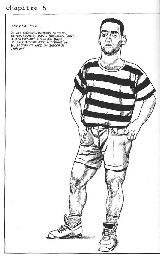 Stéphane in a striped sh irt, strong legs visible under shorts