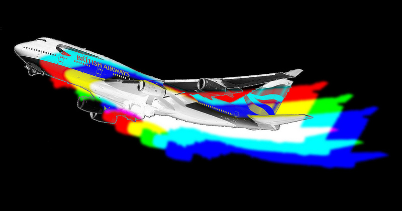 British Airways 747 with red, yellow, green, and blue trailing solid outlines of itself