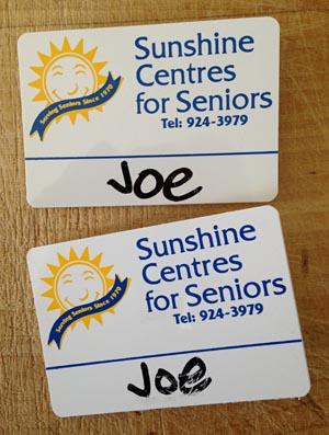 Sunshine Centres nametags: Joe