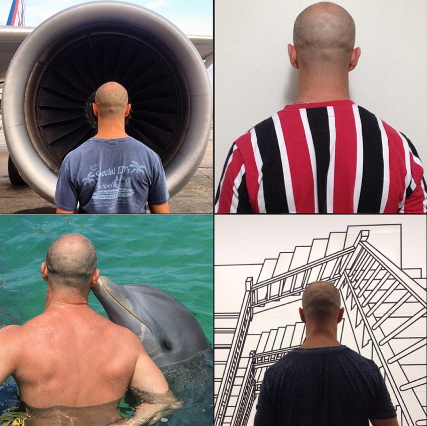 Baldie seen exclusively from behind in four pictures – before a jet engine, in a soccer jersey, being kissed by a dolphin, before a huge line drawing of endless staircases
