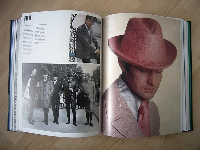 """Evening capes and fur duffels on five gents out for a stroll; """"pink raw-silk trilby with a high crown and furled brim"""""""