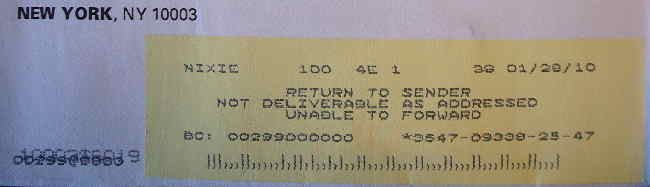 NEW YORK, NY10003 address and yellow label reading RETURN TO SENDER NOT DELIVERABLE AS ADDRESSED