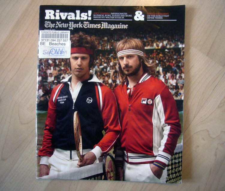 Andy Samberg as Björn Borg and John McEnroe on the cover of 'New York Times Magazine'