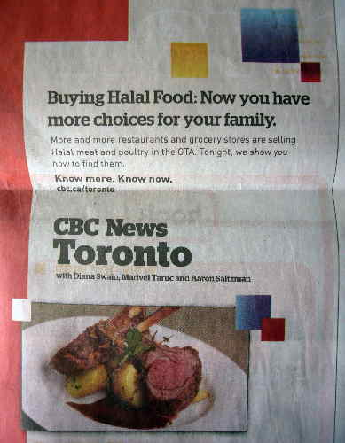Headline: Buying Halal Food: Now you have more choices for your family. More and more restaurants and grocery stores are selling Halal meat and poltry in the GTA. Tonight, we show you how to find them. [photo of rare beef on plate]