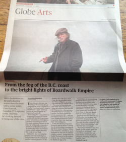 Front page of 'Globe' Arts section shows Chris Haddoc in fisherman's cap smoking a fag