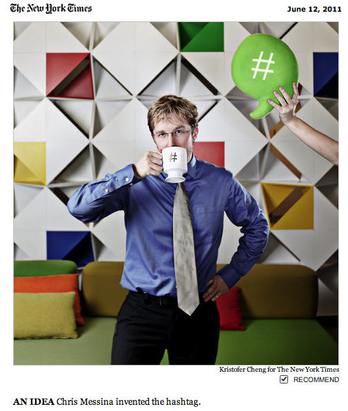 """Chris Messina, in blue shirt and silver tie, """"sips""""from # mug as hand model holds # thought balloon overhead"""