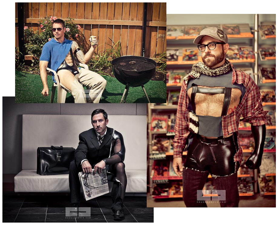 Three photos: Dad at barbecue with rubber singlet under cutaway polo and chinos; hipster in comic store with rubber lederhosen; executive with 'Wall Street Journal' and sheer latex bodysuit under one arm and leg