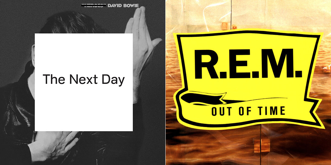 David Bowie album cover: The old cover of 'Heroes' with that word crossed out and 'The Next Day' in a plain white square obscuring the centre of the image. R.E.M. album cover: Distended image of the sea under a uniform bright yellow shield