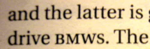 BMW in small caps followed by almost-identically-sized s