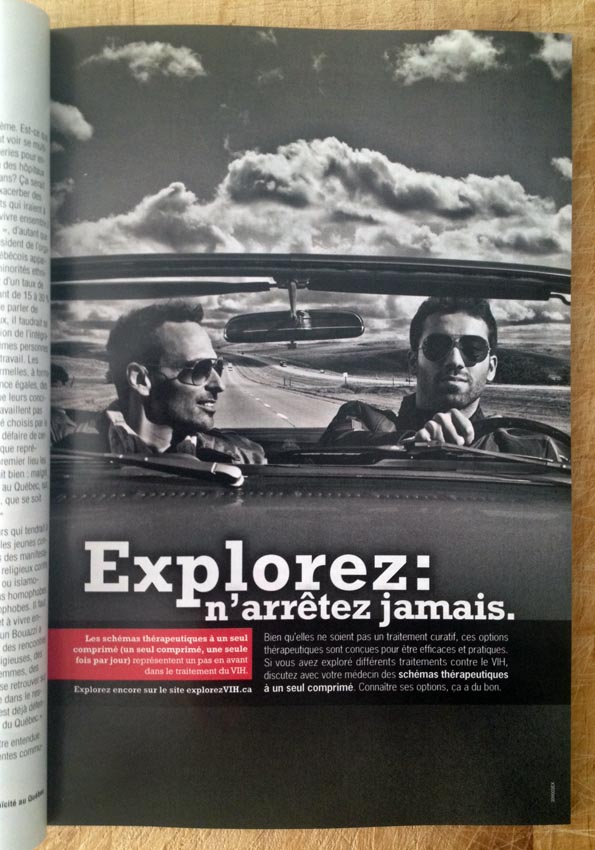 French ad with guys in convertible