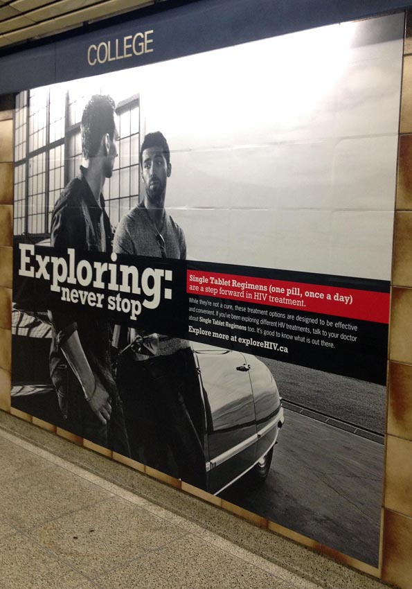 Wall-height subway ad for ExploreHIV.ca