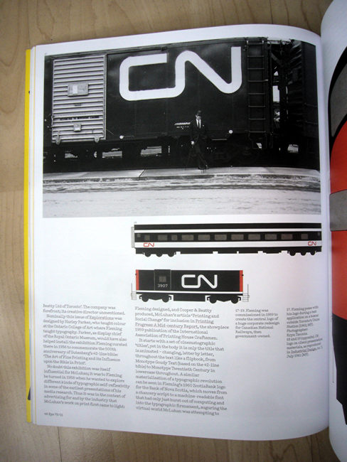 Full-page spread, including photo of Allan Fleming posing before boxcar emblazoned with CN logotype
